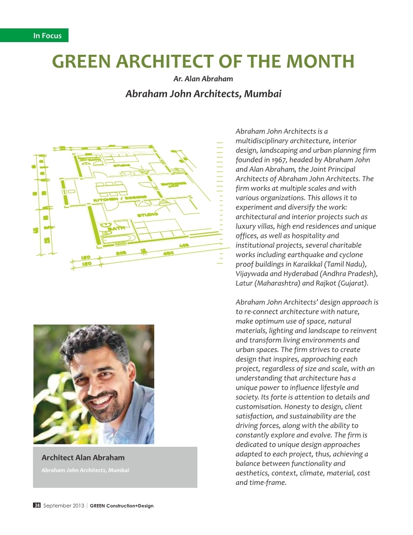 Green Construction + Design - Green Architect of the Month, Sept 2013