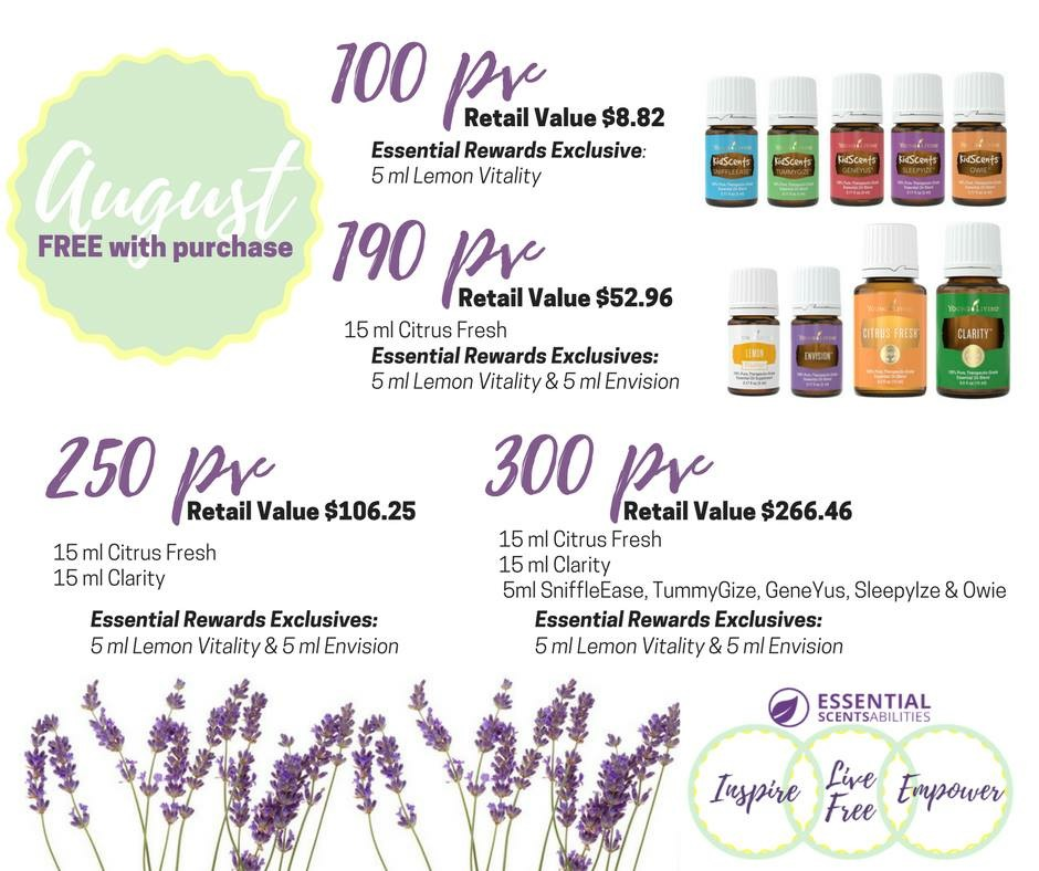 August 2017 Promos from Young Living Essential Oils Naomi and Sam Karth, Young Living distributors in Warsaw IN