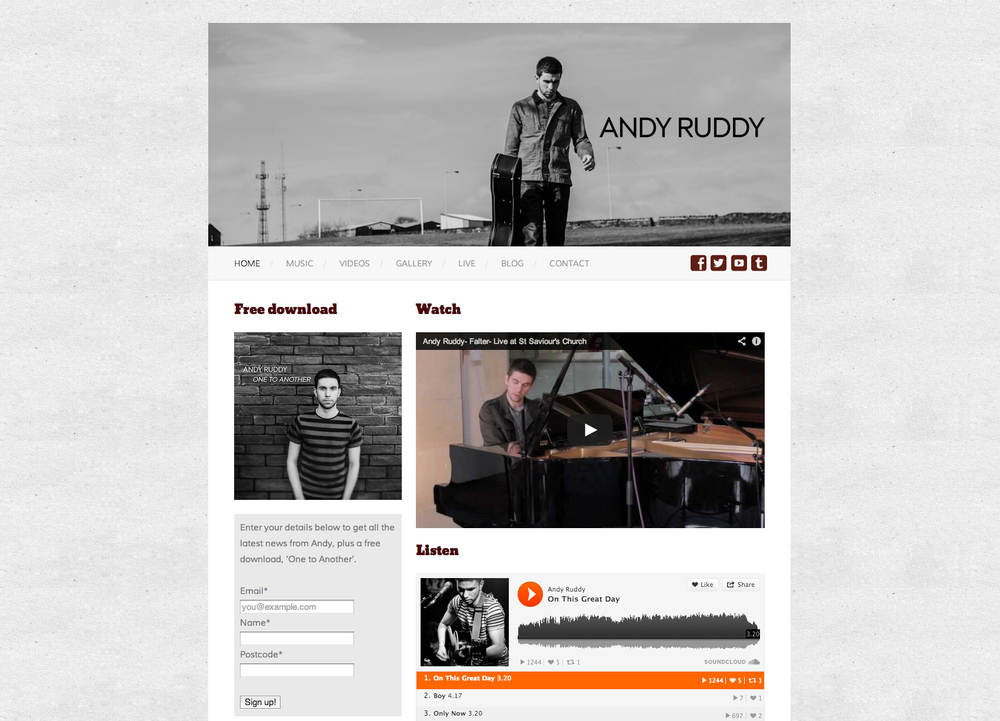 Website for musician Andy Ruddy.