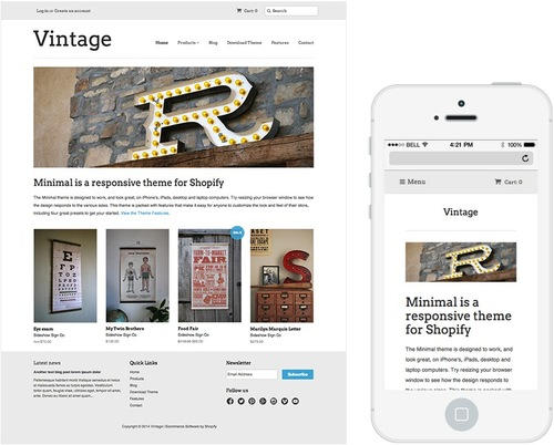 An example of a free Shopify theme (click to enlarge)