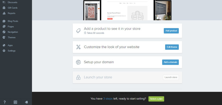 Shopify's interface is clean and easy to use (click to enlarge).
