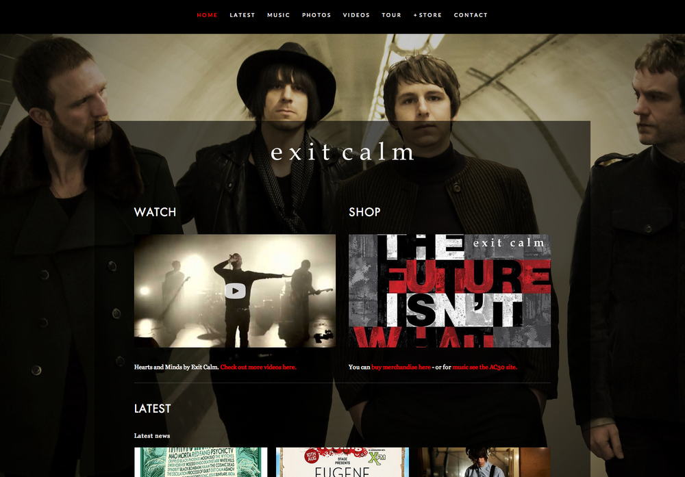 A Squarespace site we developed for indie band Exit Calm.
