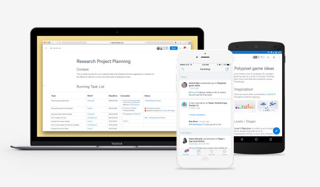 Dropbox Paper across a a variety of devices