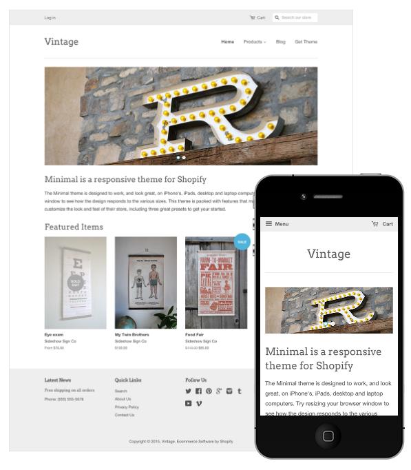 Shopify's 'Minimal'theme - a free template