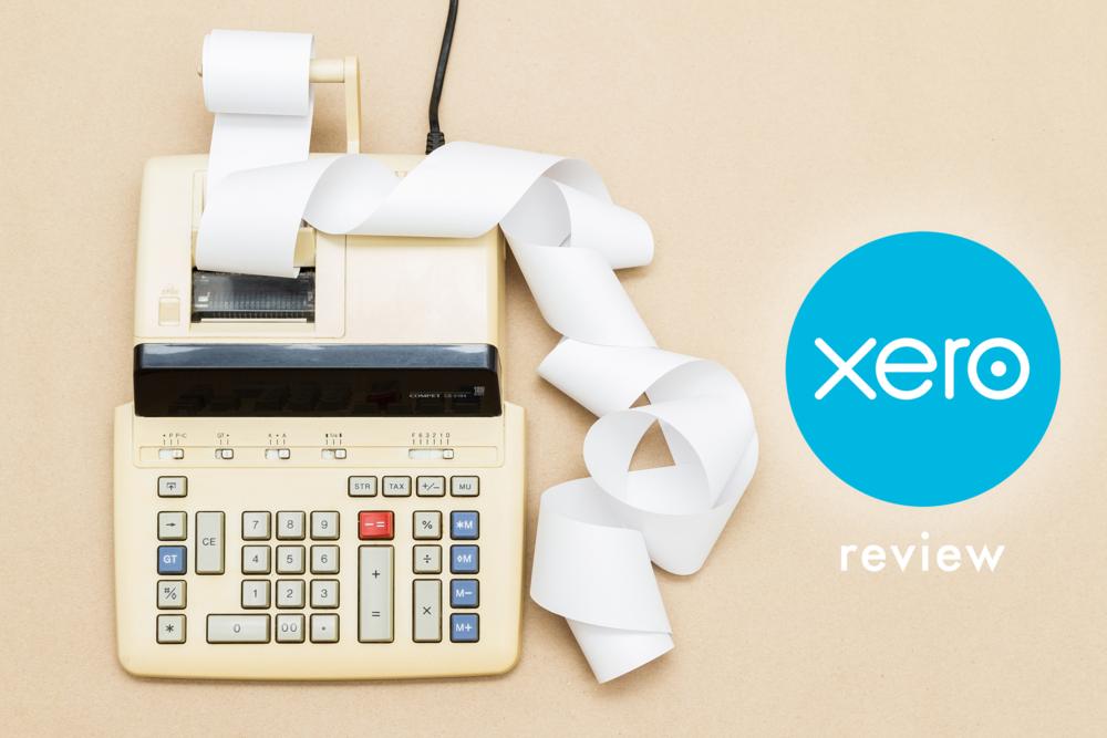 Xero review (image of a retro calculator accompanied by Xero logo)