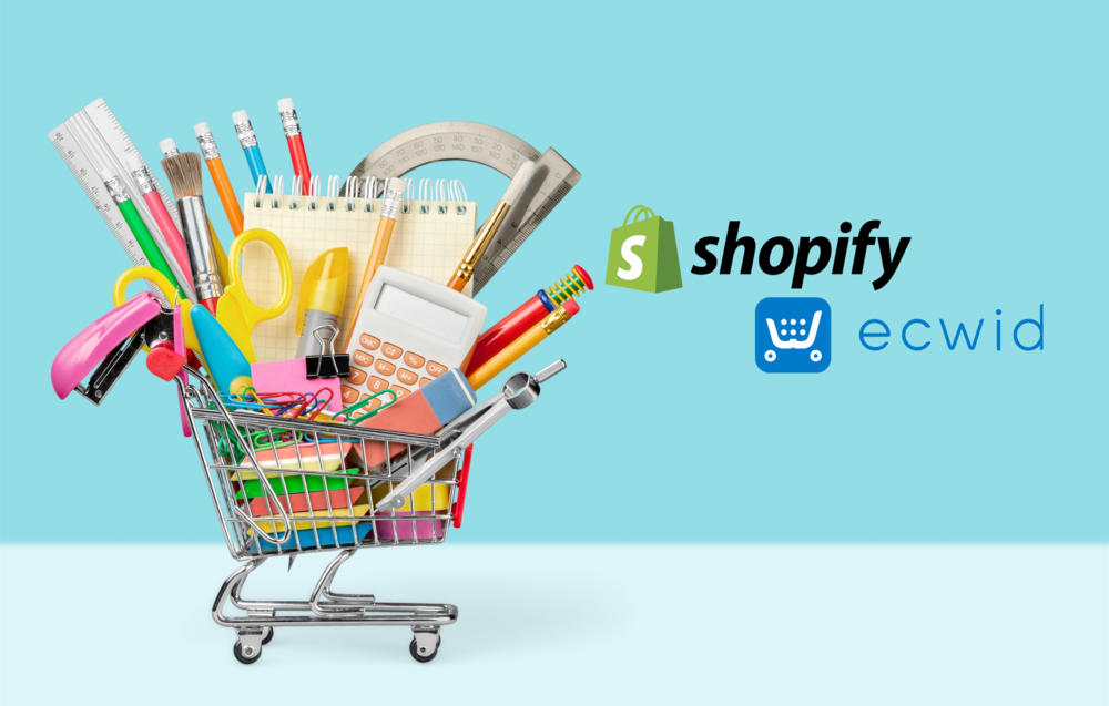 Shopify vs Ecwid (image of shopping cart accompanying the logos of both products)