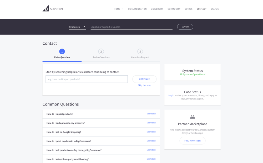 The Bigcommerce contact page