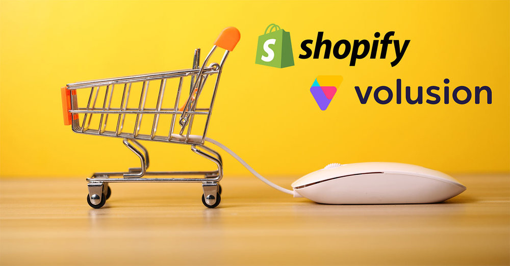 Shopify vs Volusion - image of a shopping cart beside the two company logos.