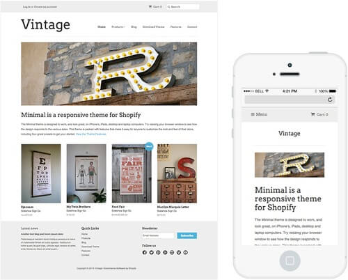 Shopify's free 'Minimal' template