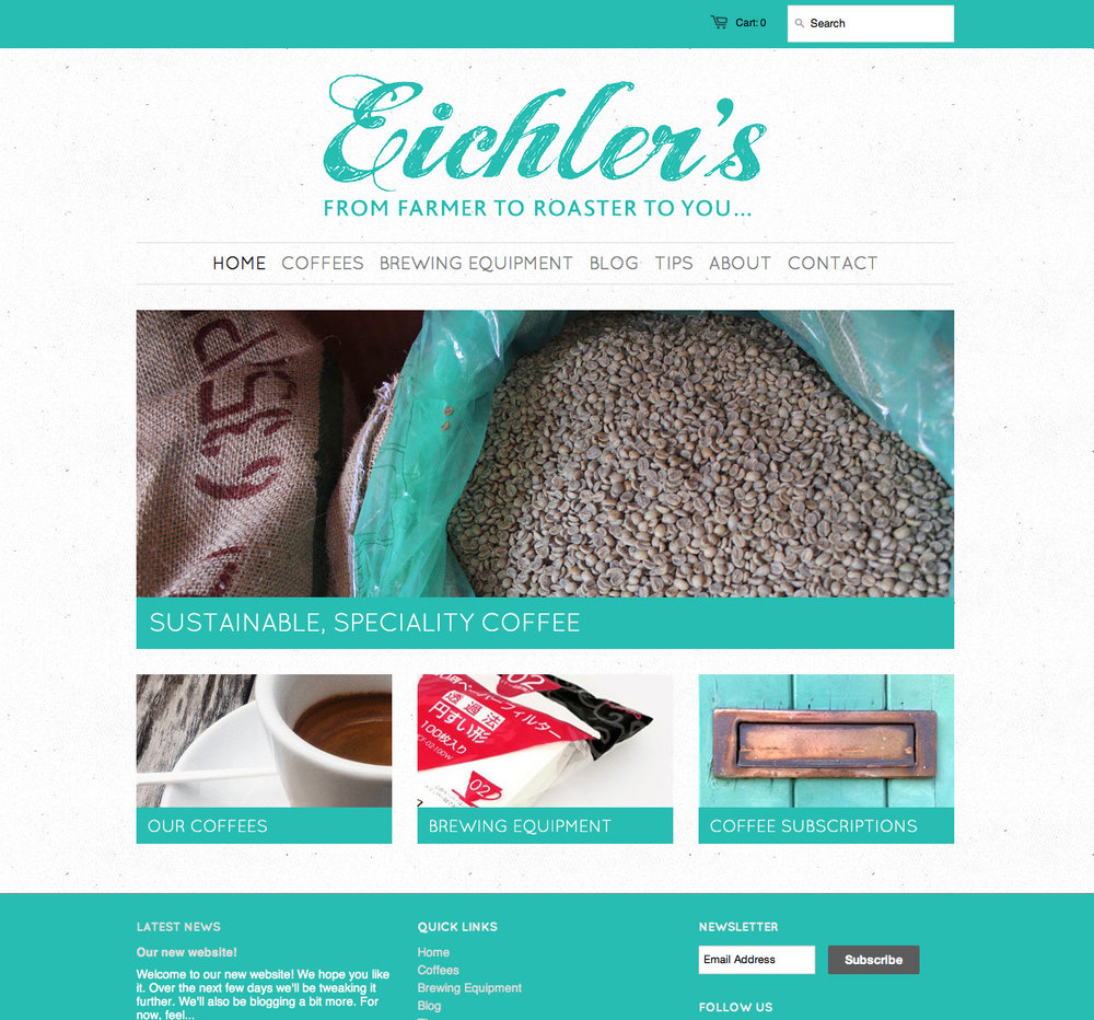 Example of a Shopify development project, for Eichler's Independent coffee roastery