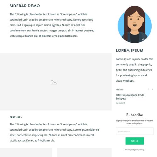 Squarespace sidebar plugin