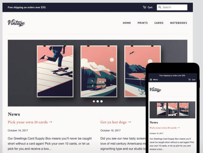 The 'Vintage' style within 'Minimal', one of Shopify's free themes