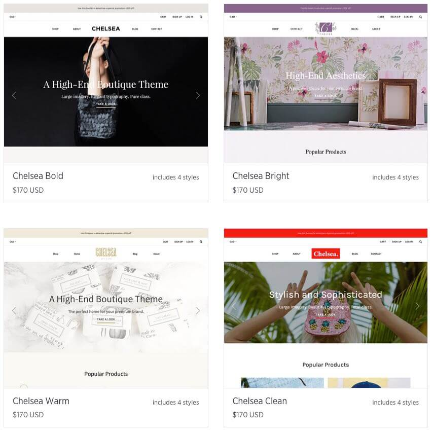 Bigcommerce's 'Chelsea' range of templates - very professional in appearance, but are we really talking about four individual themes?