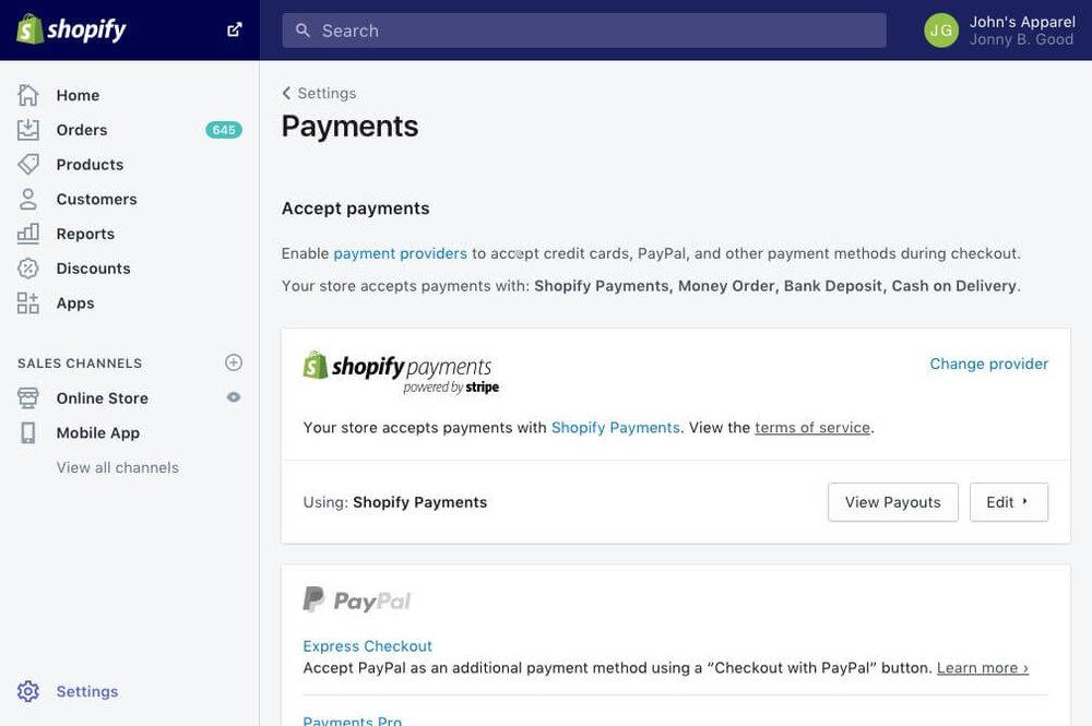 Shopify's interface