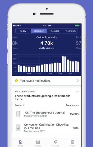 The 'Shopify' iOS app