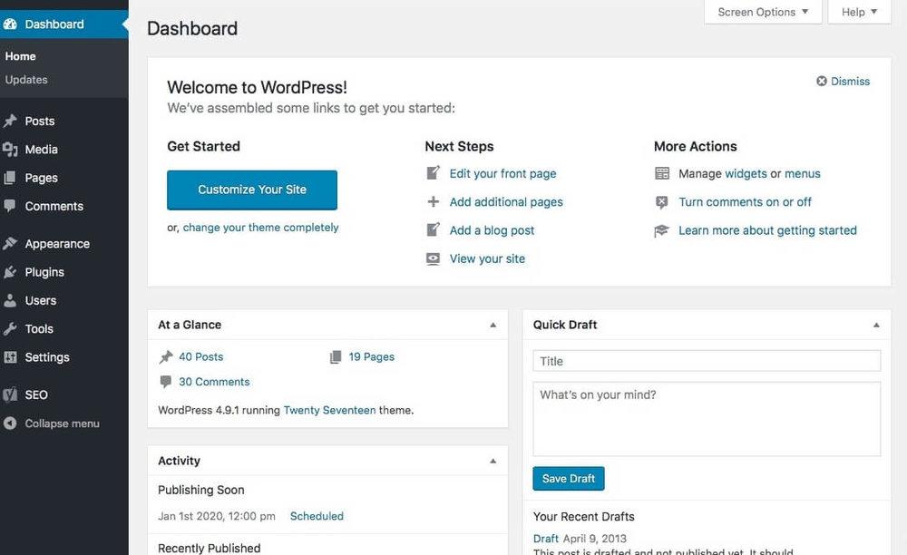 The WordPress interface