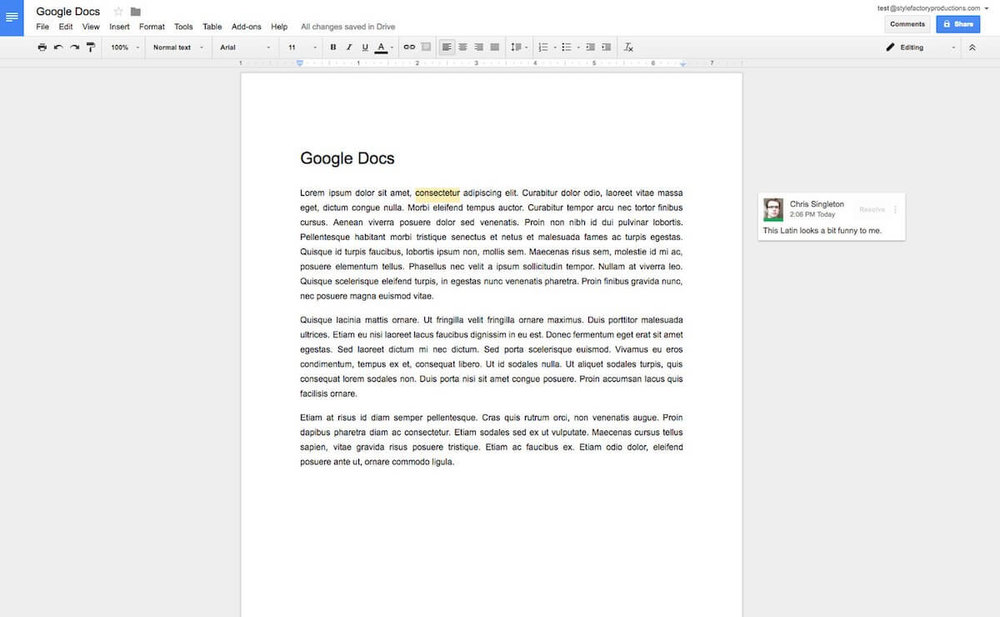 Google Docs has a very clean user interface and the collaboration tools are easy to use (click image to enlarge).