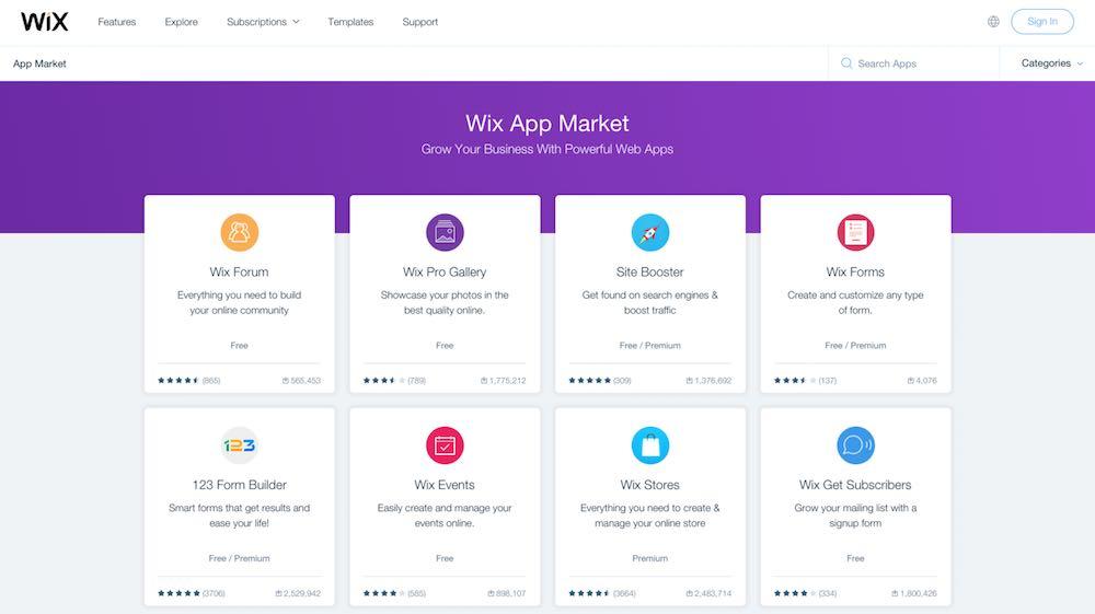The Wix app market