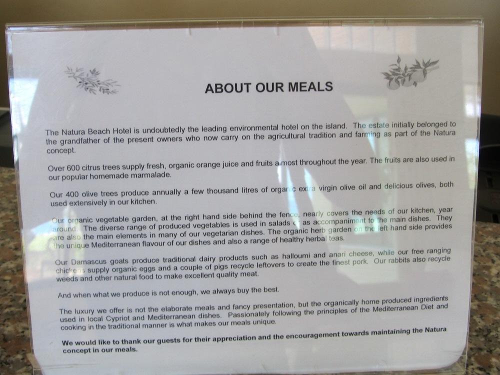 Food Policy at Natura Beach