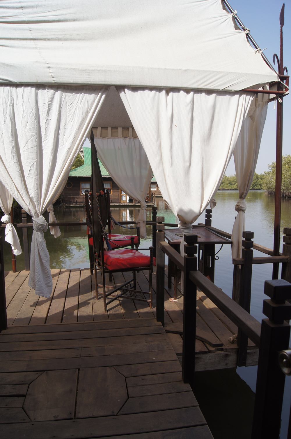 Floating lodge gazebo and viewing deck