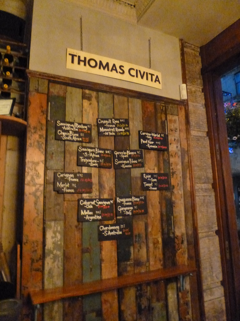 Stravaigin wine list, displayed on reclaimed wood