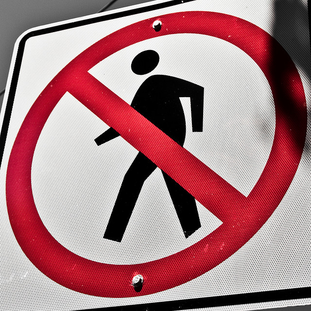 No pedestrians please! Hobbling or not.... Image by Paige Henderson