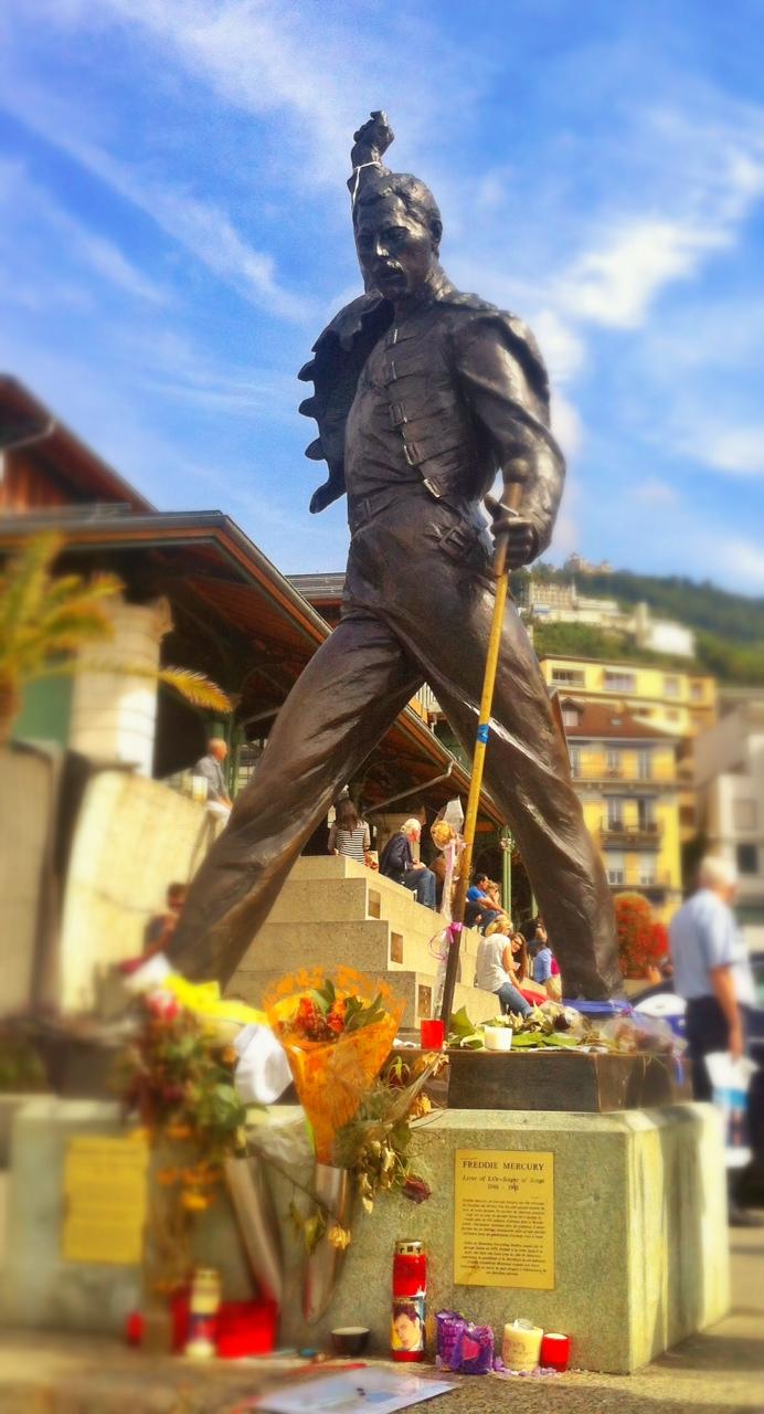 Freddie, forever triumphant overlooking Lake Geneva