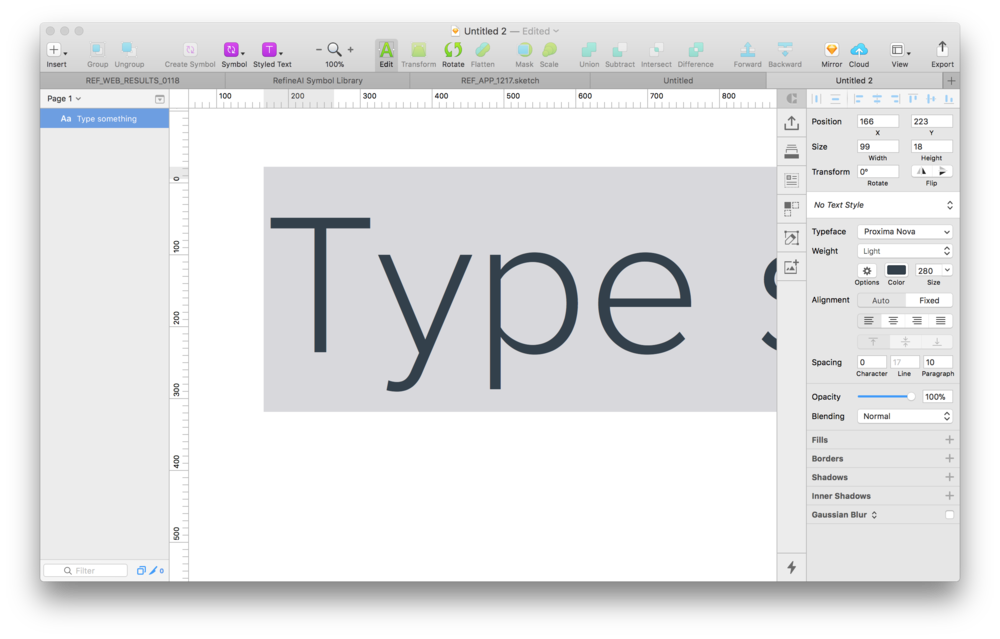 This is a selected text layer in Sketch.