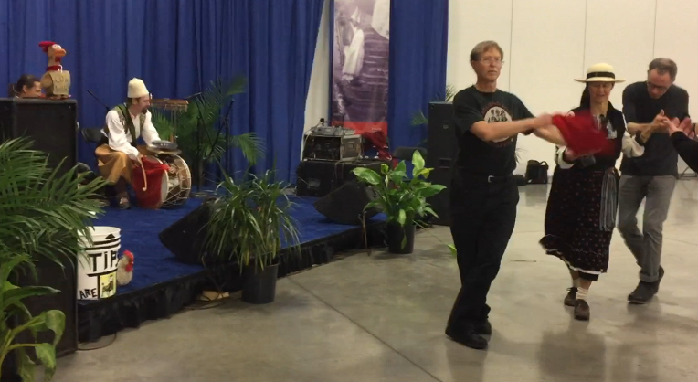 Folk dance line at Milwaukee Holiday Folk Fair International 2017
