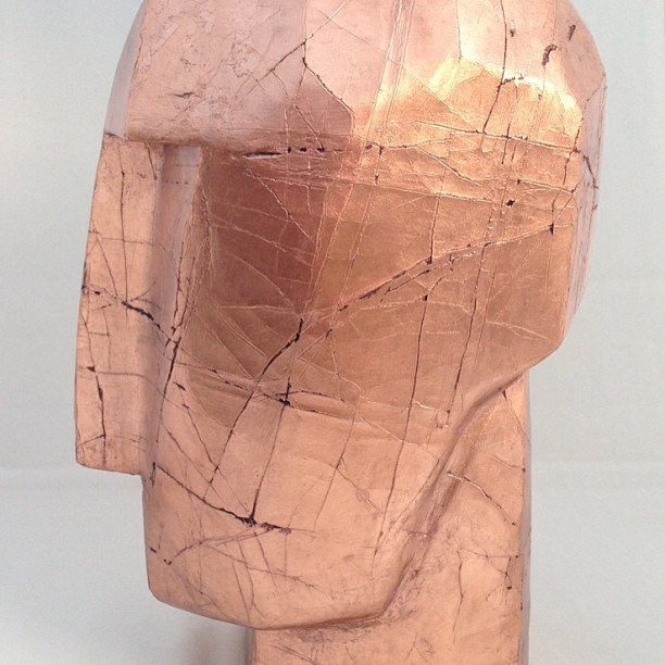 Copper leaf crackle cubist head