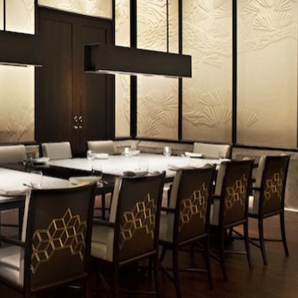 Our custom bas relief decorative plaster finish of cherry blossom trees installed at Hakkasan Beverly Hills.