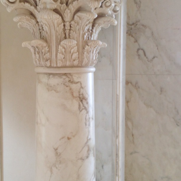 Faux marble painted finish on column shaft to match existing, and oils glaze to Corinthian capital.