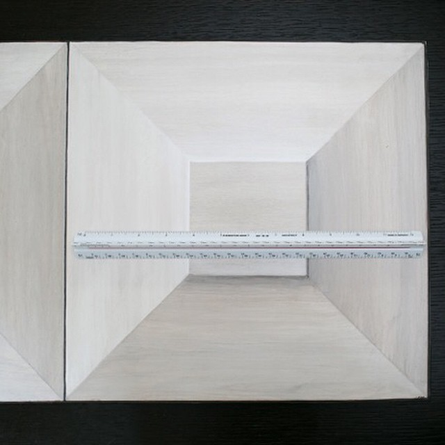 Trompe l'oeil sample for a custom cabinet in a private residence.