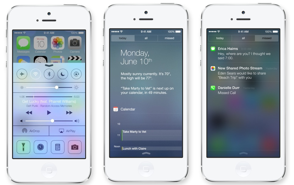 A look at the new iPone iOS7 - Control Center and Notifications Screens