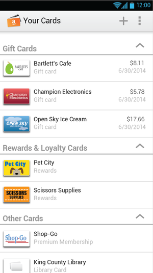How the Amazon Wallet looks on an Android device.Taken from the Android app page.
