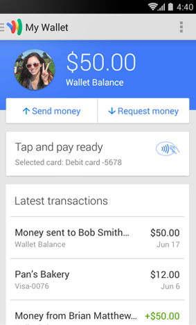 Google Wallet in action. Taken from the Android app page.