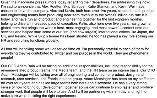 Twitter CEO, Jack Dorsey's statement