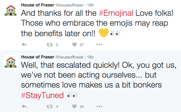 Tweets from the 'Emojinal' campaign