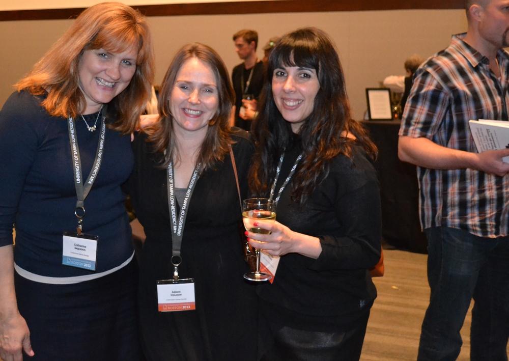 Catamaran Founding Editor Catherine Segurson, poet Allison DeLauer, author Youmna Chalala