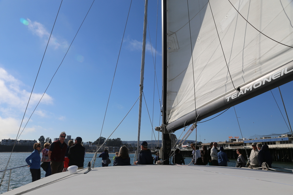 Catamaran crew and Santa Cruz Wharf