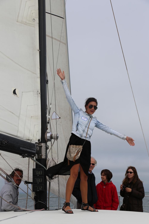 Francesca braves the cockpit roof