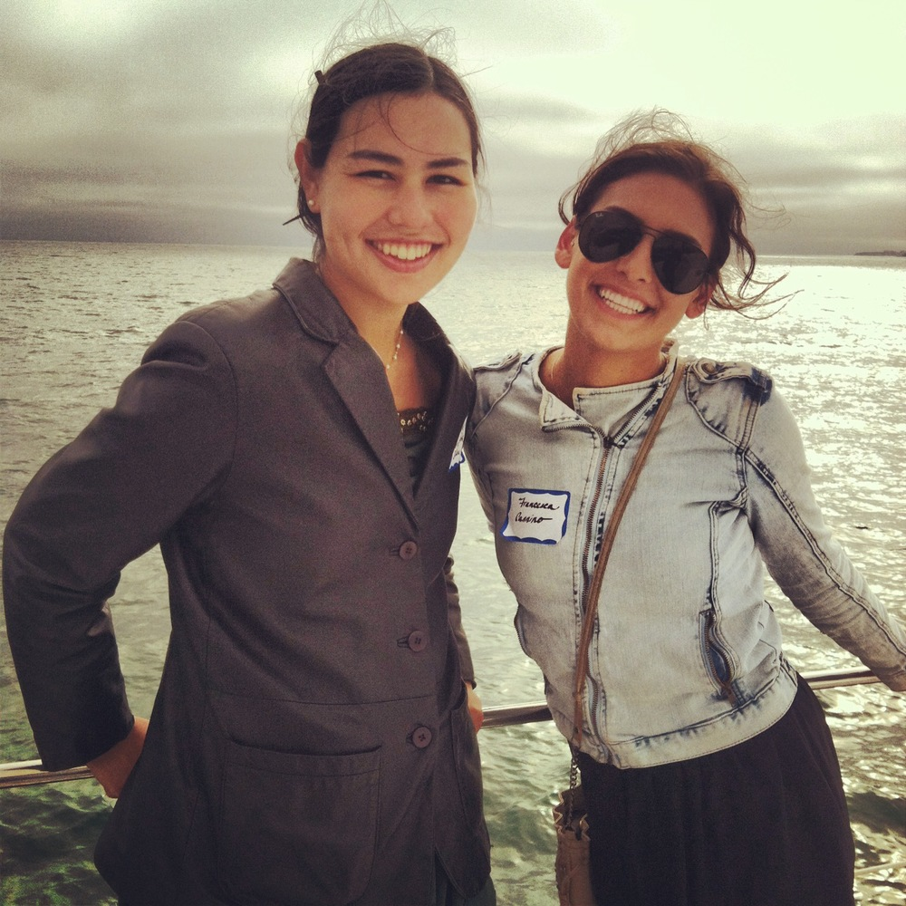 Julianne (left) and Francesca (right) on the O'Neill Catamaran