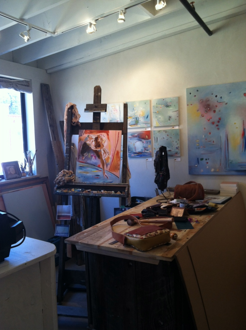 Sarah Bianco's studio. Sarah is the cover artist for our summer issue.