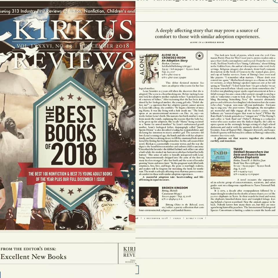 "KIRKUS REVIEW reviews Broken Kingdom in Best Books of 2018    Bitting ( Notes to the Beloved , 2017, etc.) offers a poetry collection that combines environmental, religious, and familial themes.  This lush new book of poems, which won the 2018 Catamaran Poetry Prize for West Coast poets, invites readers into a space that's both contemplative and visceral. From the very first work, ""An Hour North of Lee Vining, California,"" about fishing in the Golden State, the author's descriptions evoke vivid, lively settings. Religious imagery also abounds, from God's rampant destruction in the book of Genesis to the stained glass, pews, and cup of Sunday services. Some of Bitting's lines even read like prayers: ""I remember what matters. / Please don't ever remind me again."" Motherhood emerges as a theme in the latter sections, as when Bitting's speaker expresses awe at her offspring in ""Touched"": ""I don't know how / we got so lucky / to say we know you well when / clearly you are from somewhere else."" A father-son plumbing repair sparks equal amazement at how a fitful teenager became a man who's patient enough to unclog a sink in ""sometimes i want to look away."" In ""Everything Crumbling Becoming Something New,"" the narrator alternately grieves and celebrates her daughter's declaration that she wants to be a boy: ""woman now man / all your multitudes I'm learning to sing you,"" the poet writes. Throughout, the metaphors are masterful and fully engage all the reader's senses; water balloons are ""watered organs that want to burst"" (""What the Rain Made""), female genitalia is a ""vinegar cave"" (""The Slaying""), and coffee is ""dark fluid sun"" (""After""). Bitting is a seductive writer who eases readers into the darkest depths; she's able to open a poem in the seemingly benign setting of a high school darkroom and end it with the untimely death of a brother in Yosemite. Fans of Sharon Olds', Margaret Atwood's, and Louise Erdrich's poetry will find much to admire in Bitting's vulnerable, emotive free-verse style.  A glorious set that weaves together the ethereal, earthly, and mundane. —Kirkus Review"