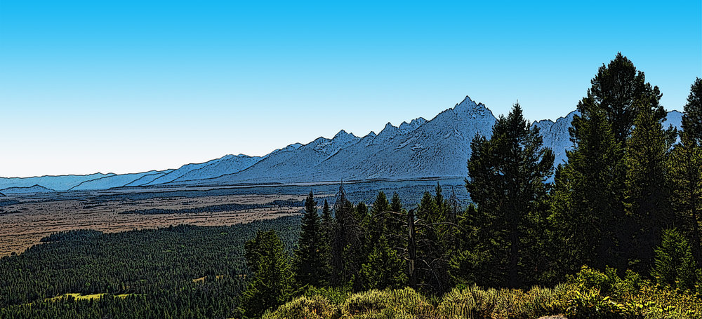 Grand Tetons from Signal Mountain - Wyoming