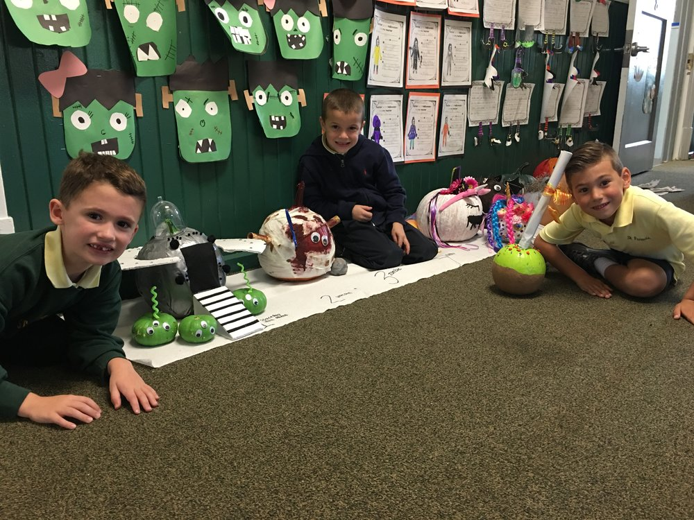 The winners of the Pumpkin Contest were Andrew Birkhead for Most Creative, Sam Travea for Scariest pumpkin, and Michael Galli for Funniest Pumpkin! Great job to everyone! They truly all worked so hard on their pumpkins!! :)