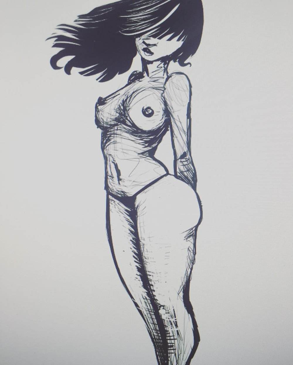 Sketch #digitalpainting #pinupart #girl #sketch #sketchbook #digitalink