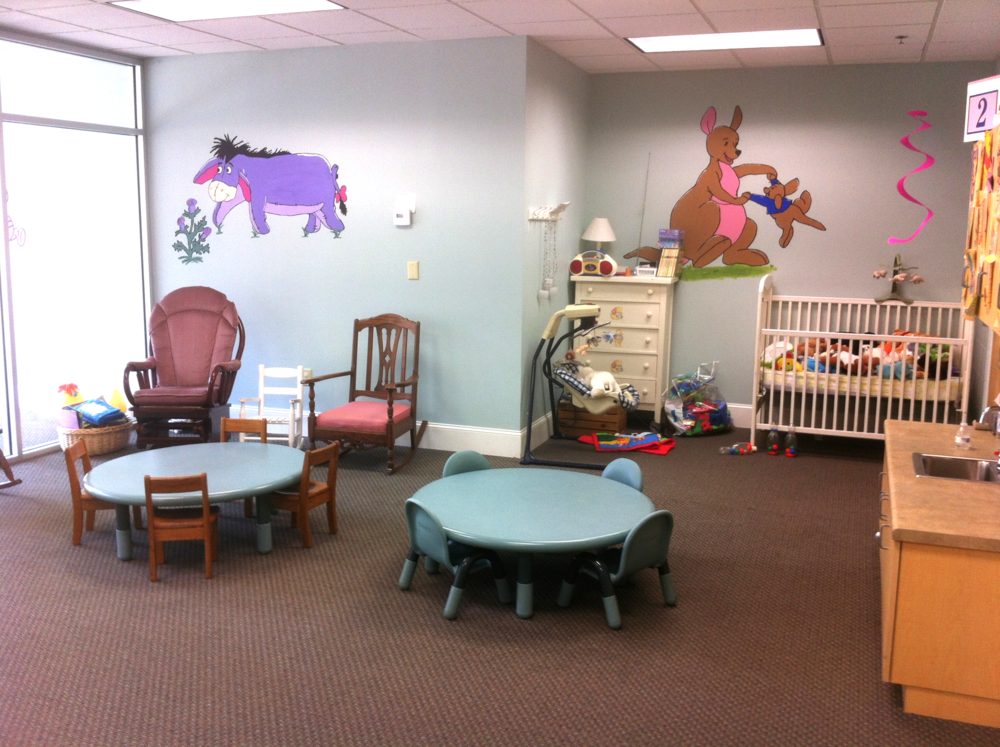 Paid college students work under our Nursery Coordinator to provide quality childcare
