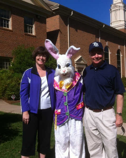 Reverend Bohler, his wife Kim, and the Easter Bunny at last year's Easter Egg Hunt