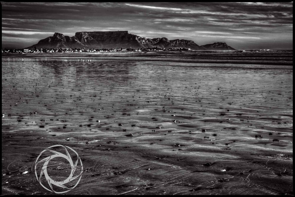 Black and White Image of Table Mountain from Melkbosstrand, Cape Town, Western Cape, south Africa